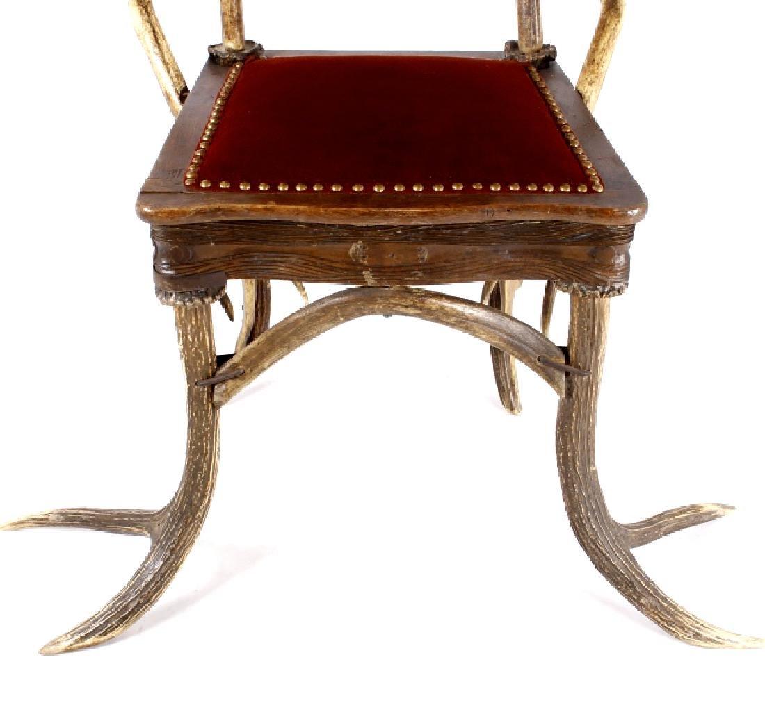 German Fallow & Stag Deer Antler Chair c.1890-1920 - 6