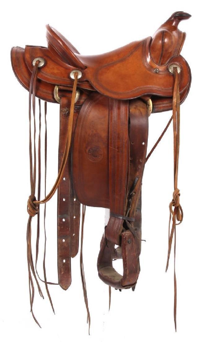 H.H. Heiser Fine Tooled Western Style Saddle