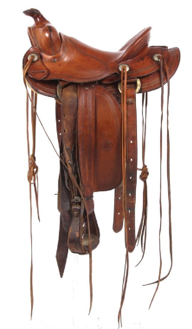 H.H. Heiser Fine Tooled Western Style Saddle - 2