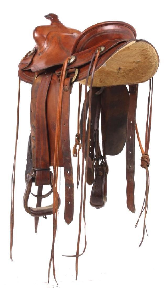 H.H. Heiser Fine Tooled Western Style Saddle - 3