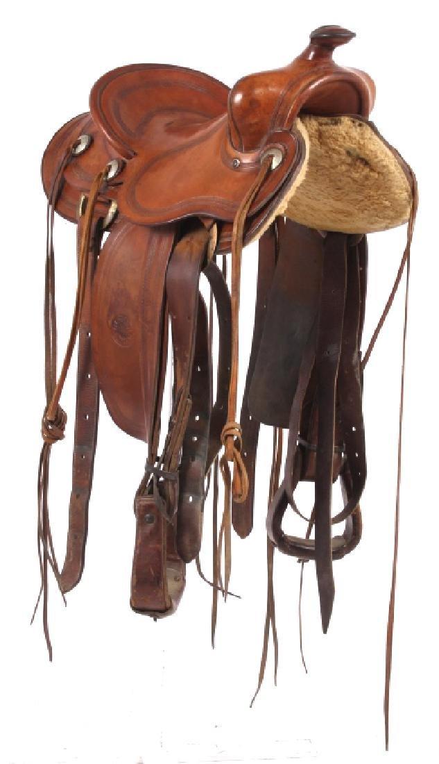 H.H. Heiser Fine Tooled Western Style Saddle - 4