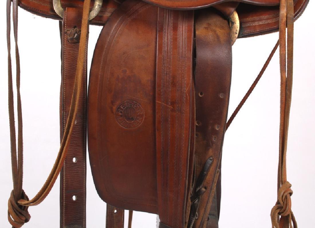 H.H. Heiser Fine Tooled Western Style Saddle - 5