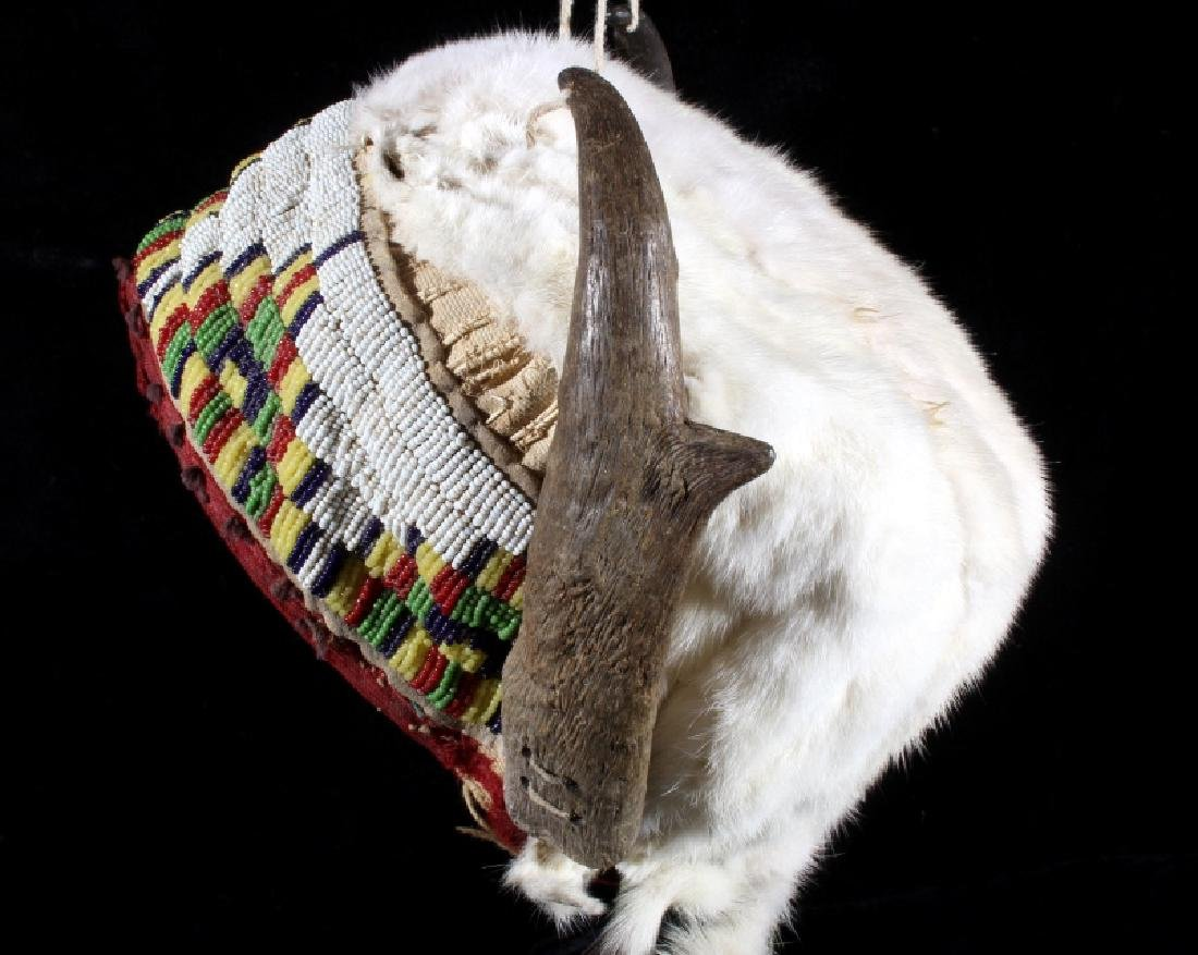 Assiniboine Beaded Pronghorn Headdress 19th C. - 10