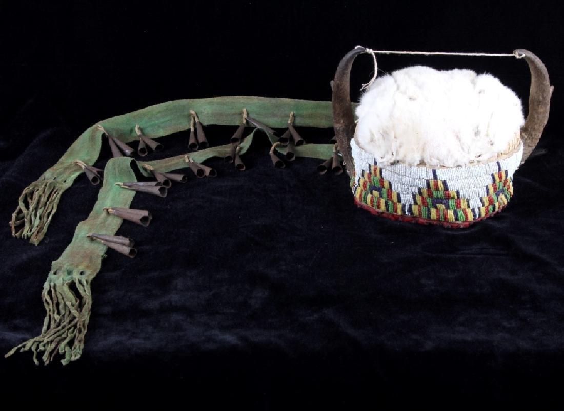 Assiniboine Beaded Pronghorn Headdress 19th C.