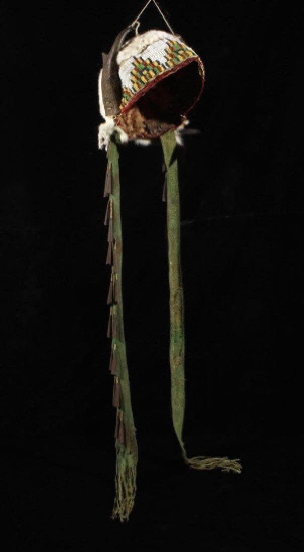 Assiniboine Beaded Pronghorn Headdress 19th C. - 3