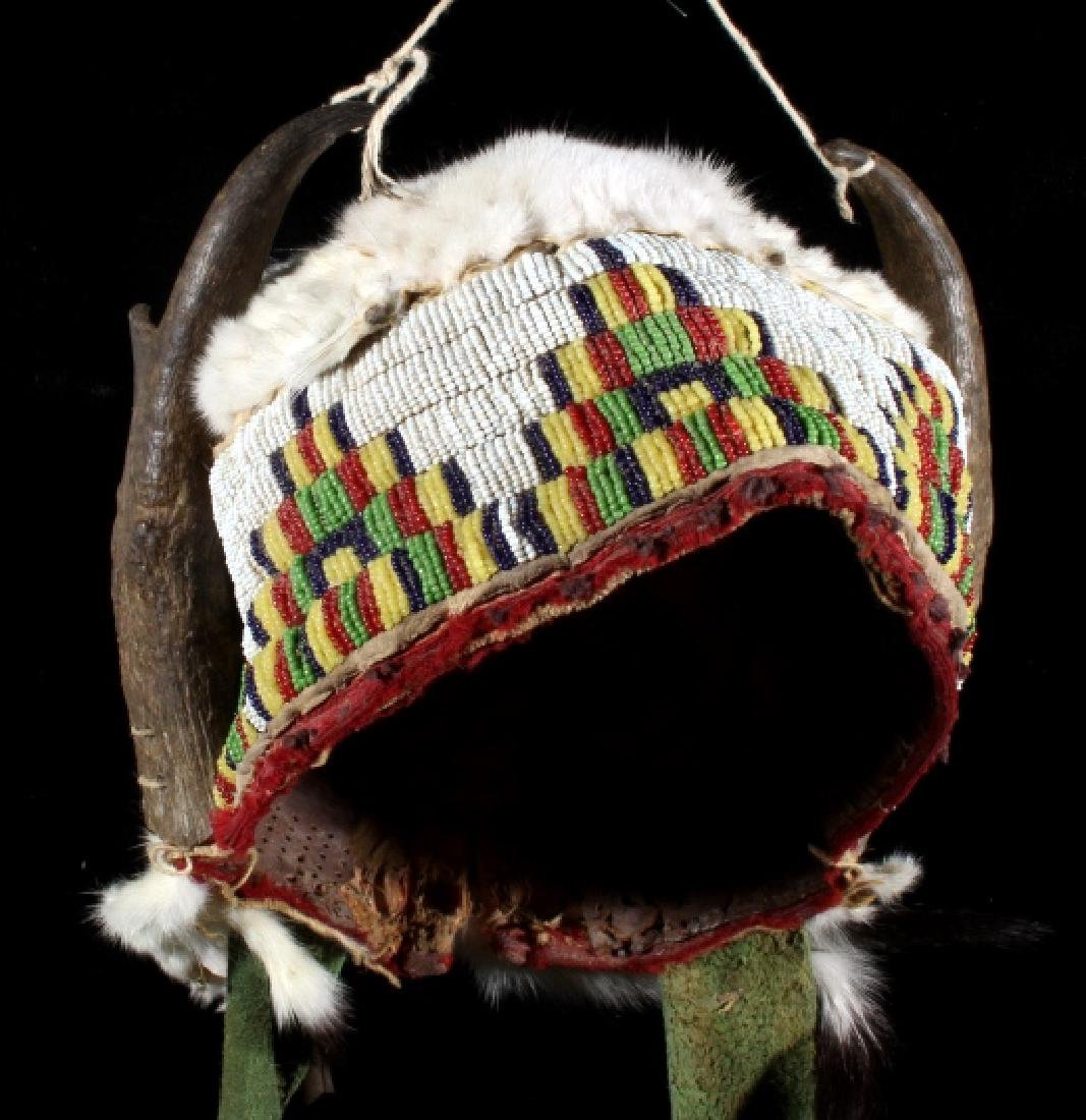 Assiniboine Beaded Pronghorn Headdress 19th C. - 8