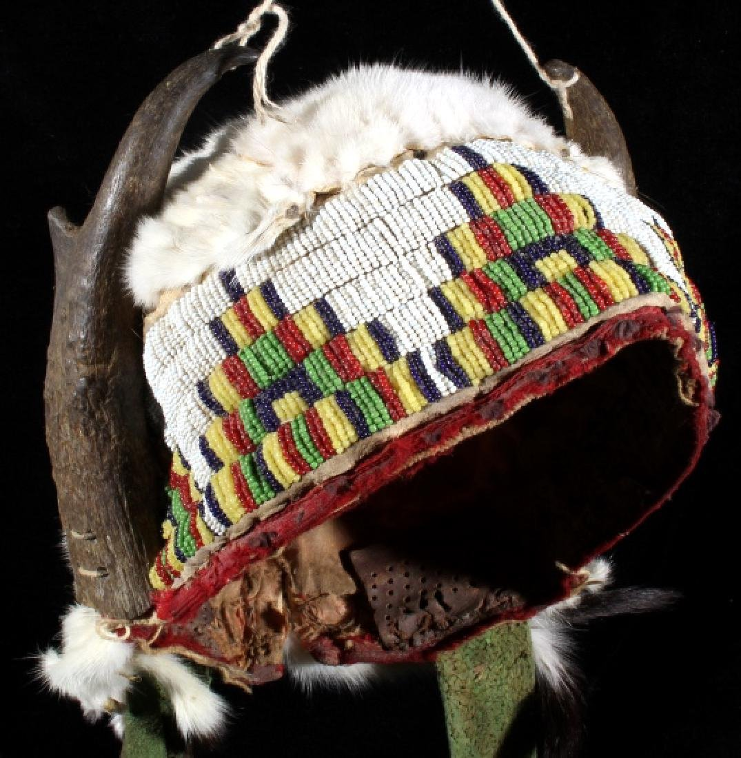 Assiniboine Beaded Pronghorn Headdress 19th C. - 9