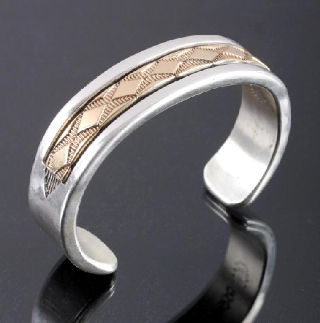 Signed Navajo Sterling Silver 14K Gold Cuff