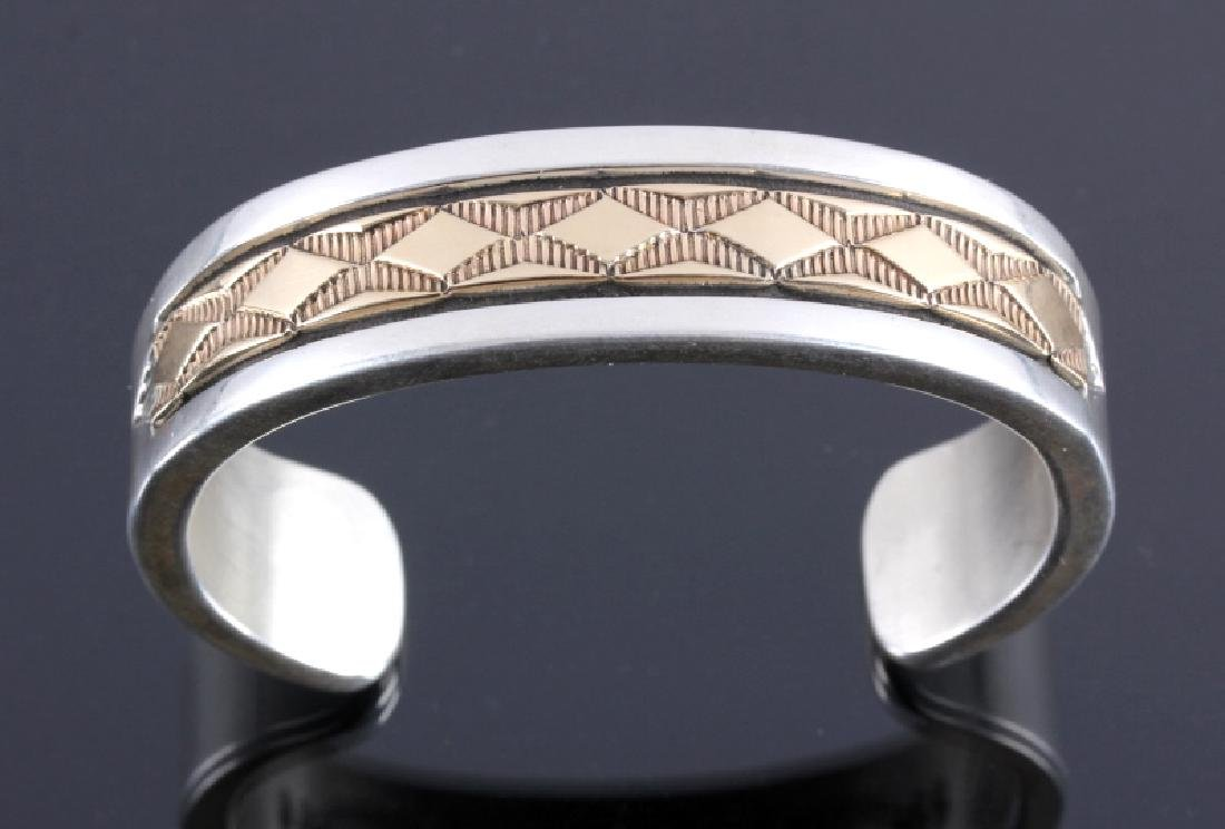 Signed Navajo Sterling Silver 14K Gold Cuff - 3
