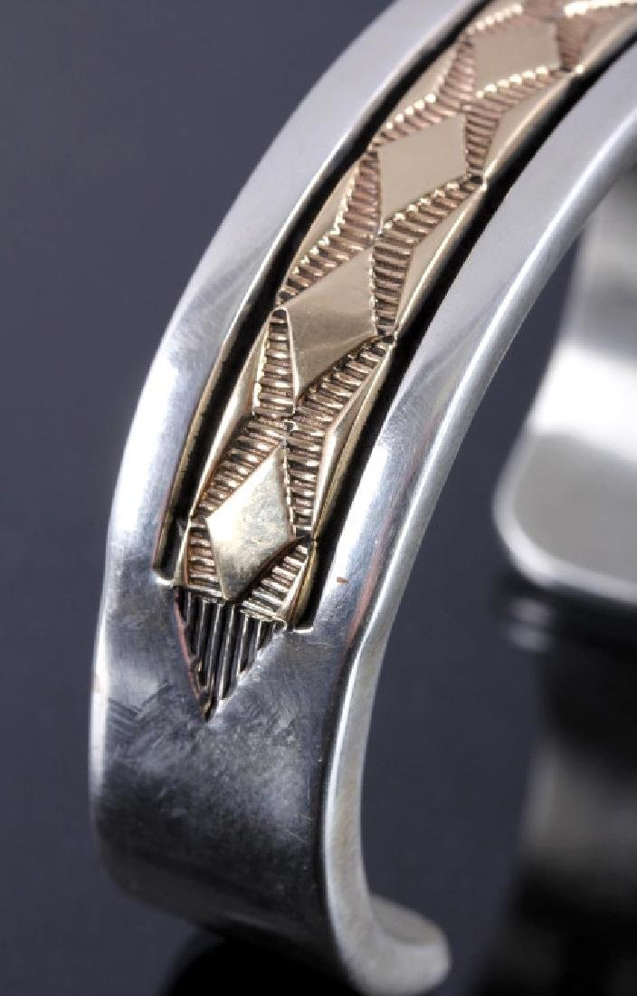 Signed Navajo Sterling Silver 14K Gold Cuff - 4
