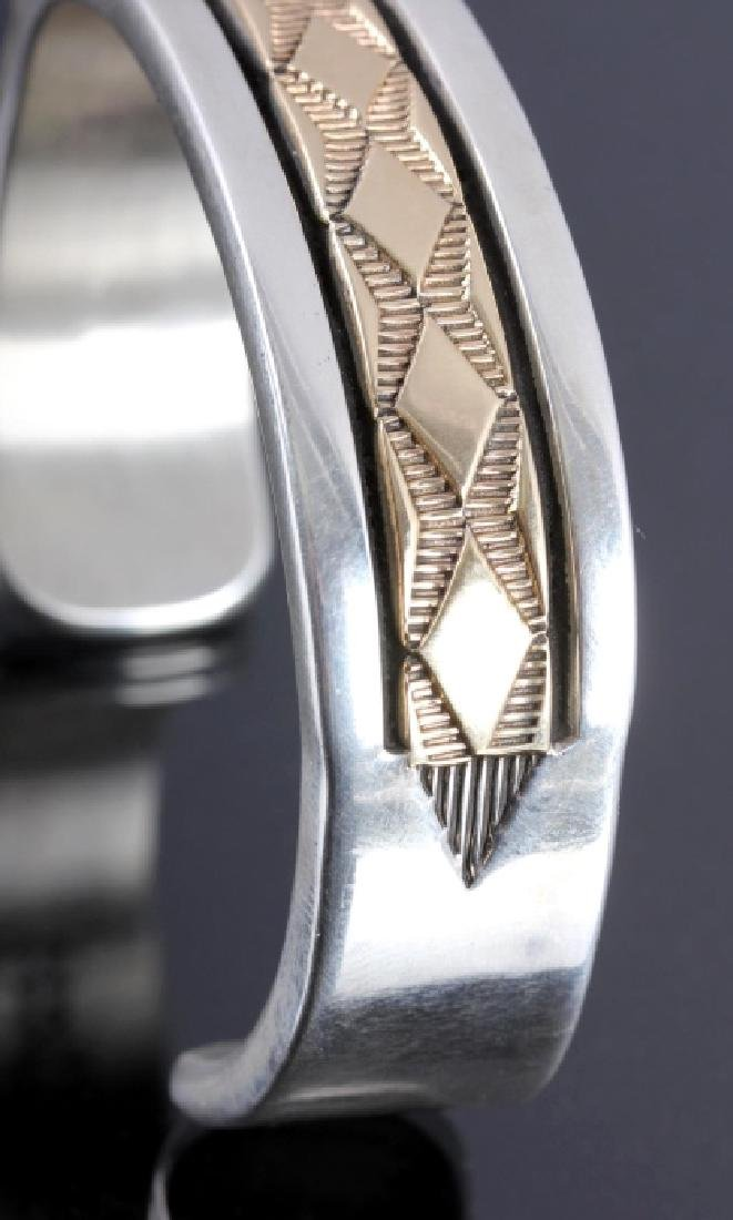 Signed Navajo Sterling Silver 14K Gold Cuff - 5