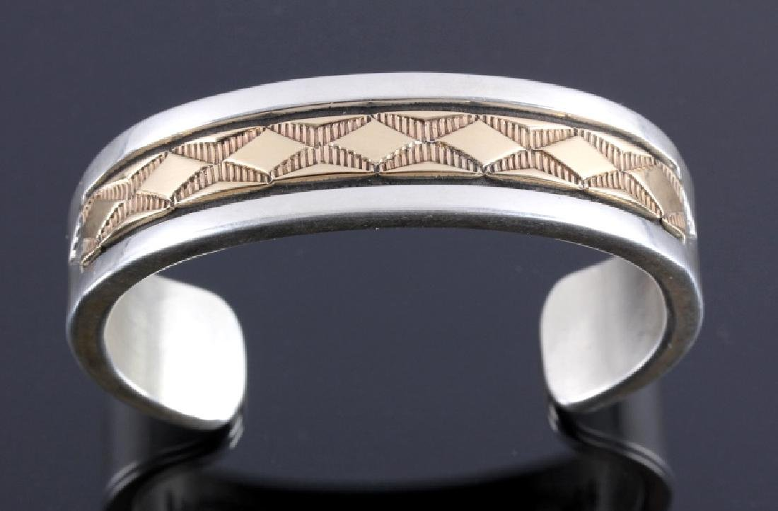 Signed Navajo Sterling Silver 14K Gold Cuff - 8