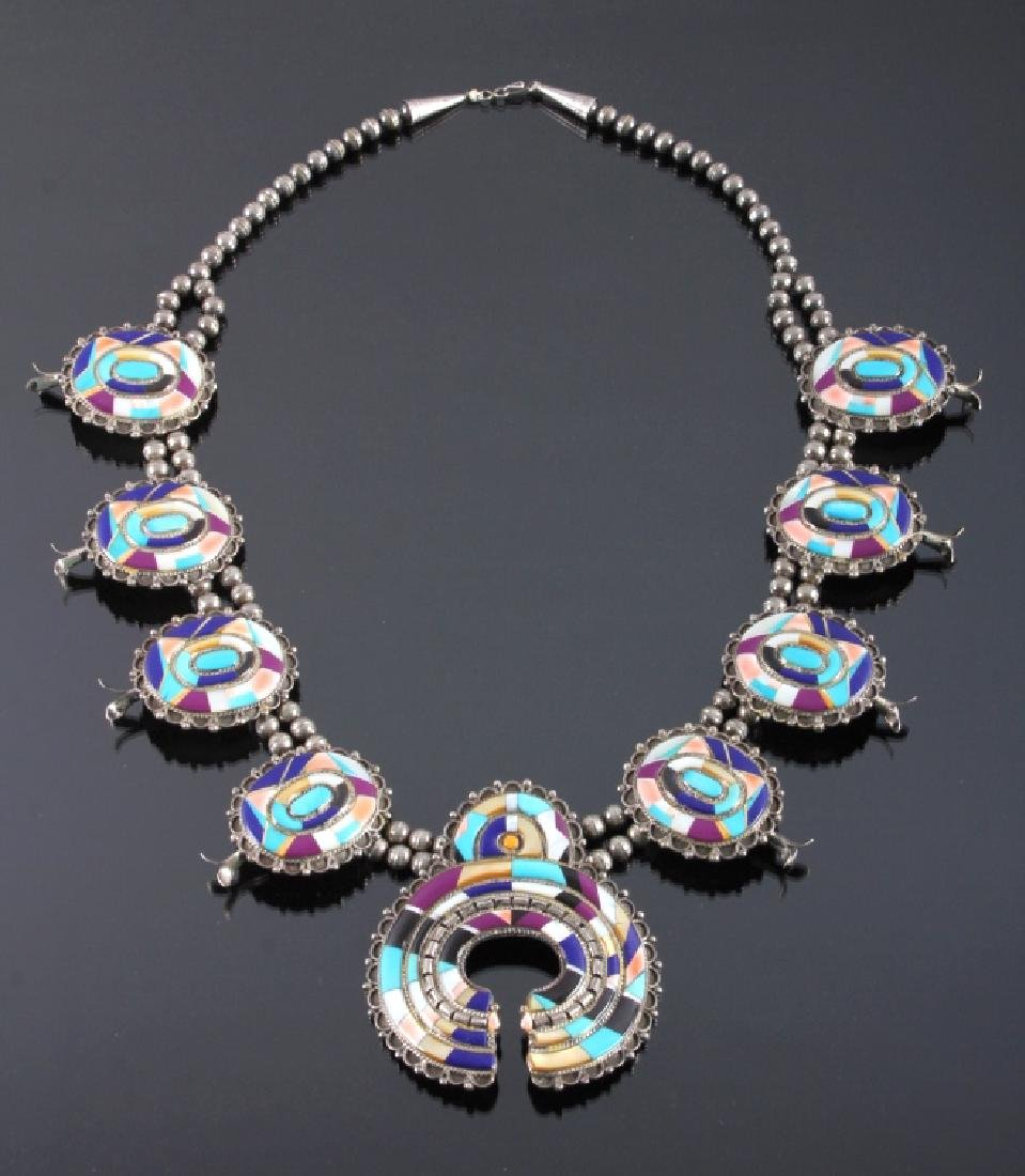 Zuni Sterling Silver Inlaid Mosaic Squash Blossom