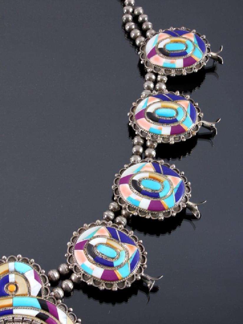 Zuni Sterling Silver Inlaid Mosaic Squash Blossom - 4