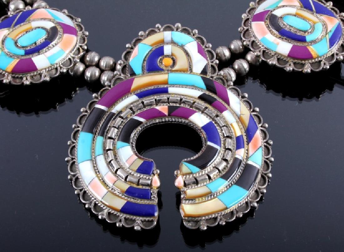 Zuni Sterling Silver Inlaid Mosaic Squash Blossom - 6