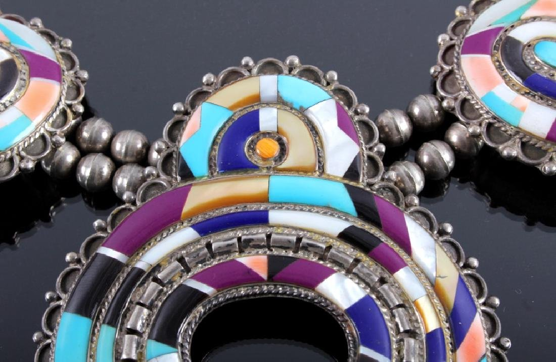 Zuni Sterling Silver Inlaid Mosaic Squash Blossom - 7