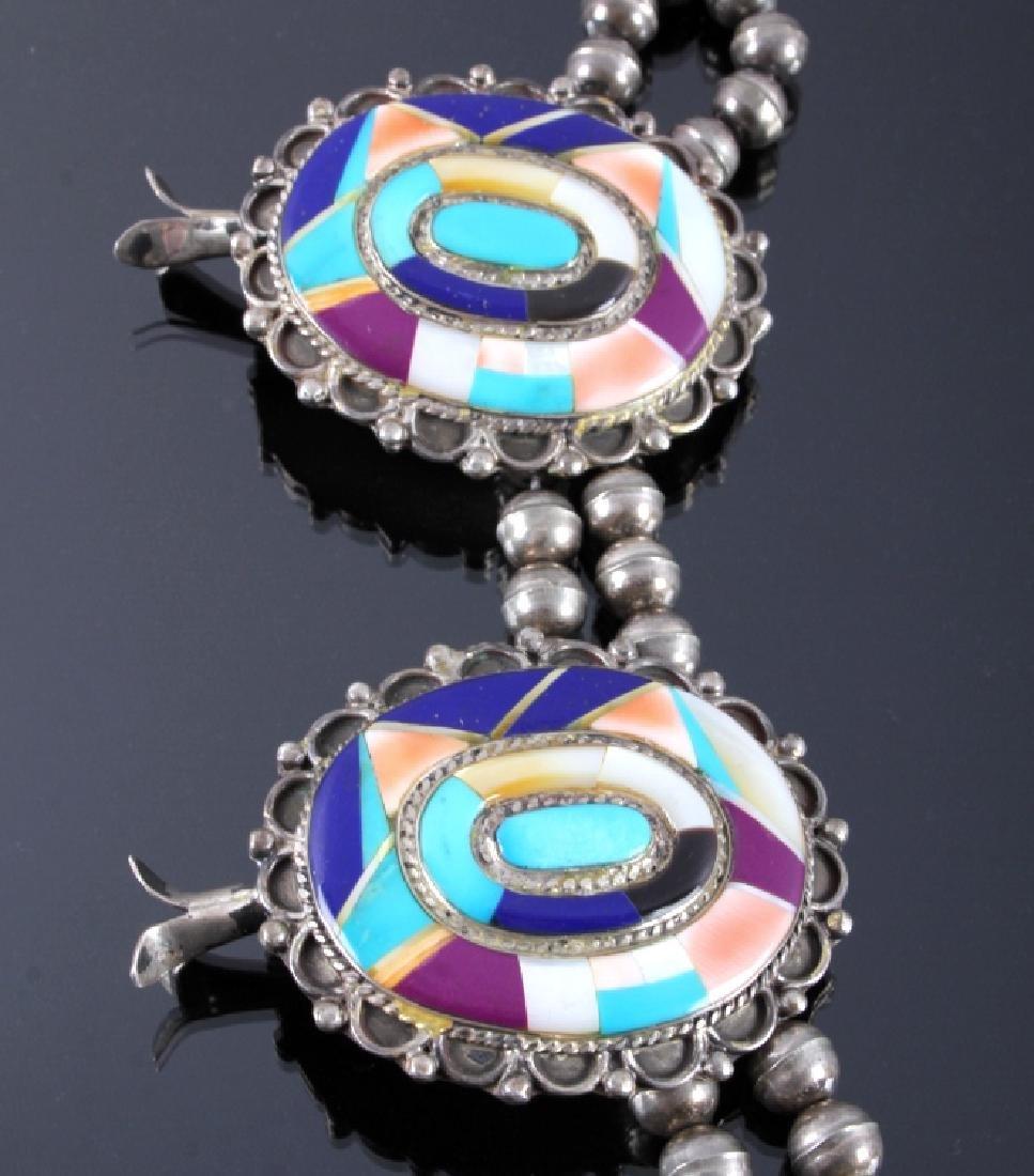 Zuni Sterling Silver Inlaid Mosaic Squash Blossom - 9