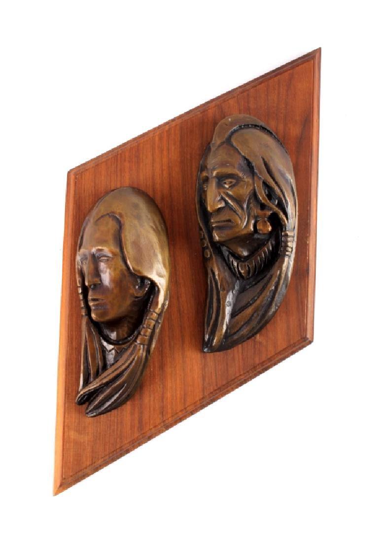 Original Ace Powell Bronze Indian Relief Sculpture