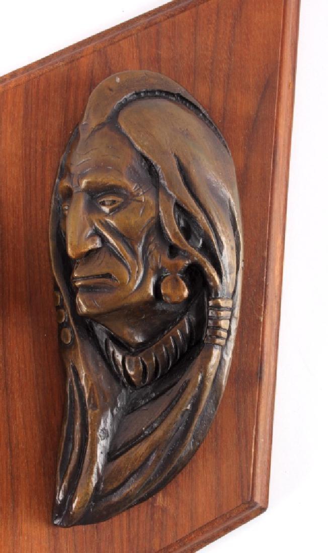 Original Ace Powell Bronze Indian Relief Sculpture - 2