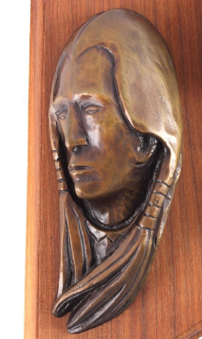 Original Ace Powell Bronze Indian Relief Sculpture - 3