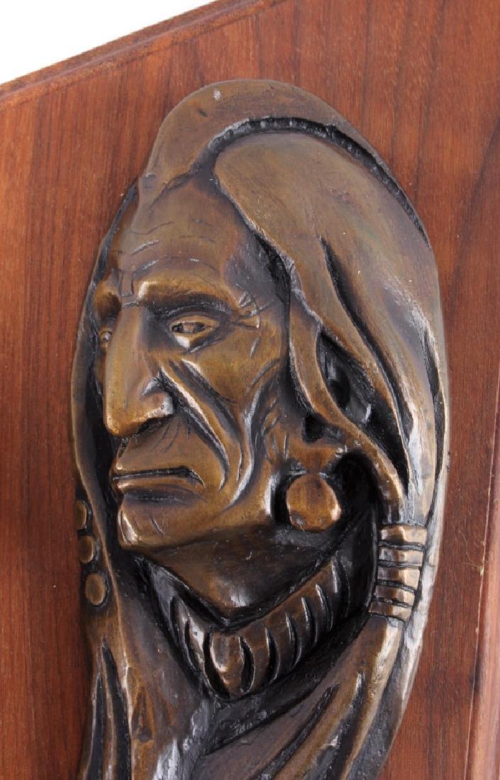 Original Ace Powell Bronze Indian Relief Sculpture - 4