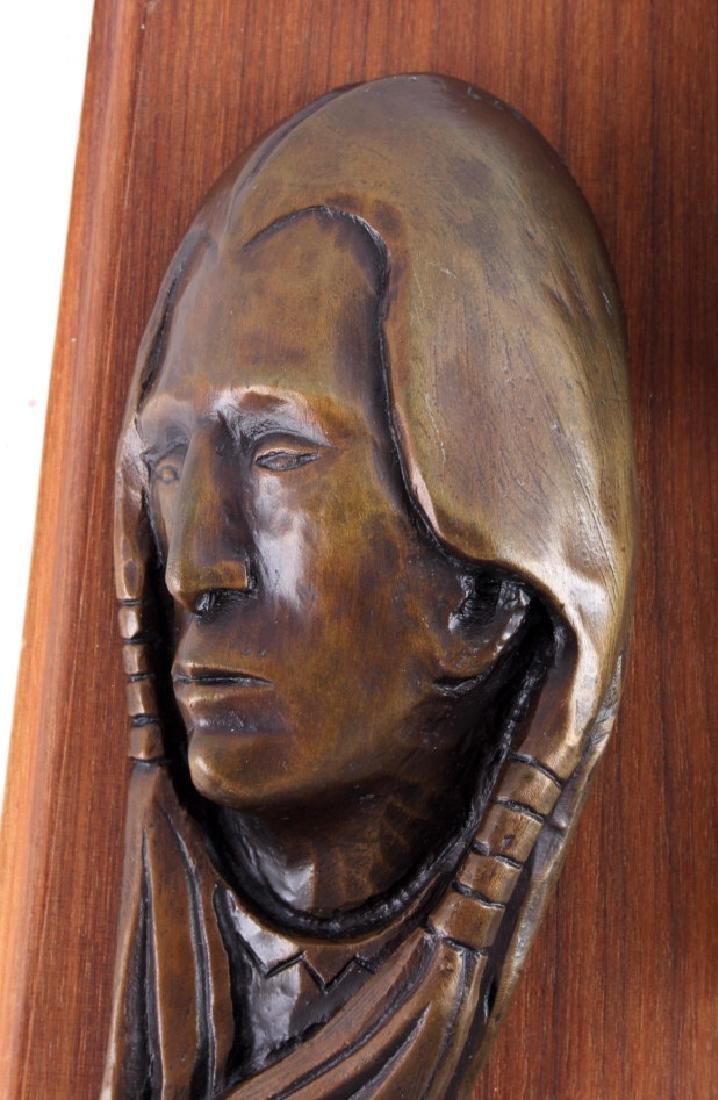 Original Ace Powell Bronze Indian Relief Sculpture - 5