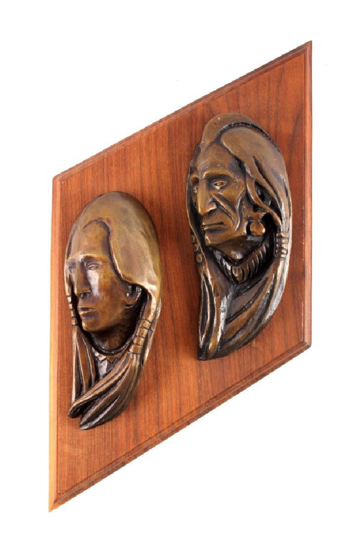 Original Ace Powell Bronze Indian Relief Sculpture - 8