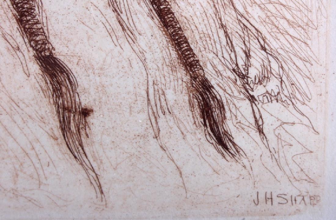 Original Joseph Henry Sharp Framed Etching - 5