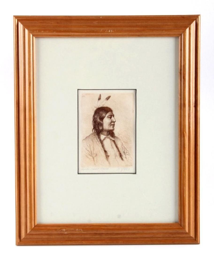 Original Joseph Henry Sharp Framed Etching - 8