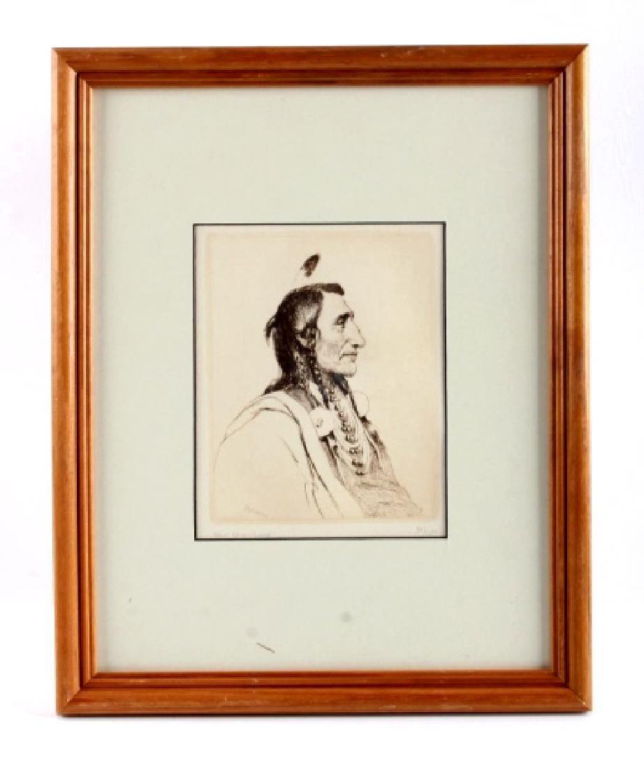 Original Joseph Henry Sharp Framed Etching - 10