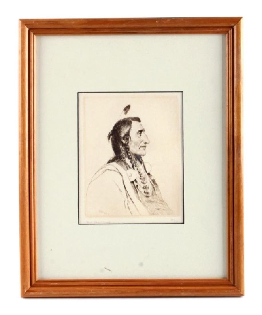Original Joseph Henry Sharp Framed Etching
