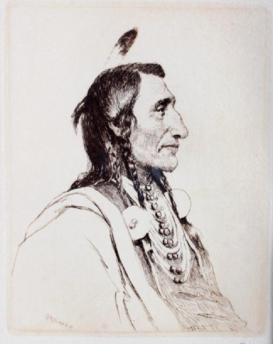 Original Joseph Henry Sharp Framed Etching - 2