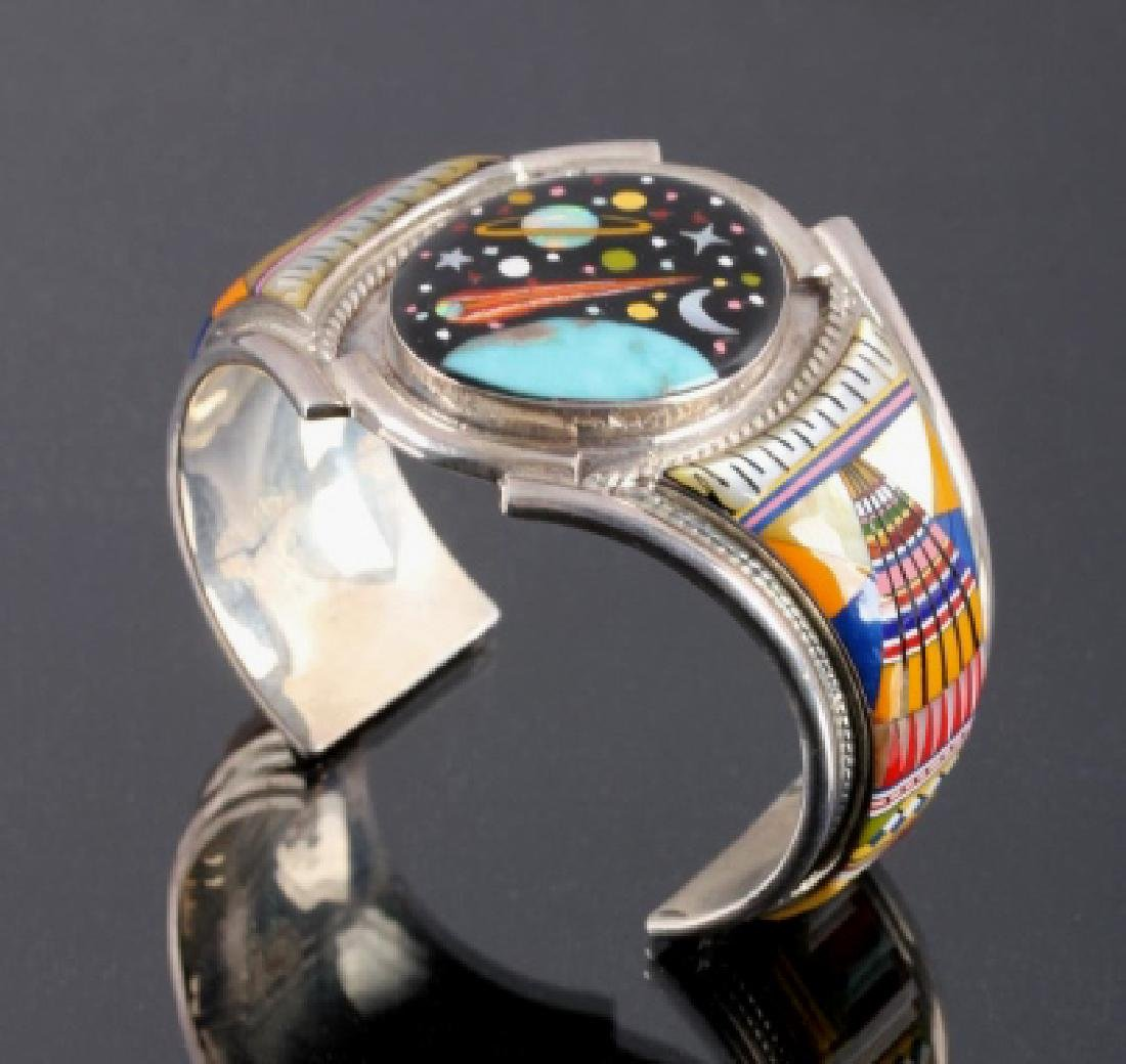 Navajo Sterling Inlaid Mosaic Night Sky Cuff
