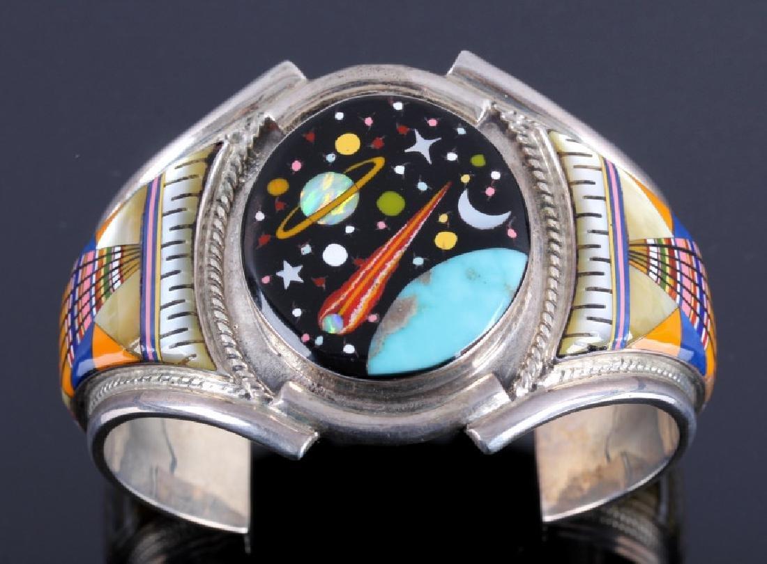 Navajo Sterling Inlaid Mosaic Night Sky Cuff - 3