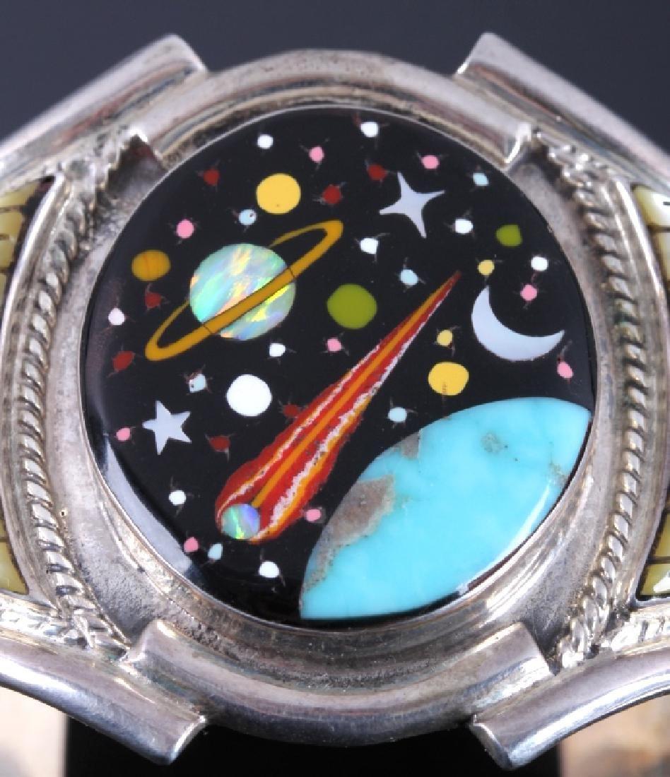 Navajo Sterling Inlaid Mosaic Night Sky Cuff - 4