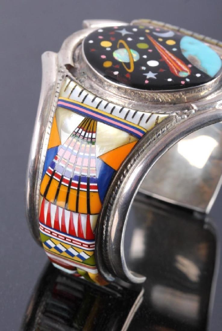 Navajo Sterling Inlaid Mosaic Night Sky Cuff - 5