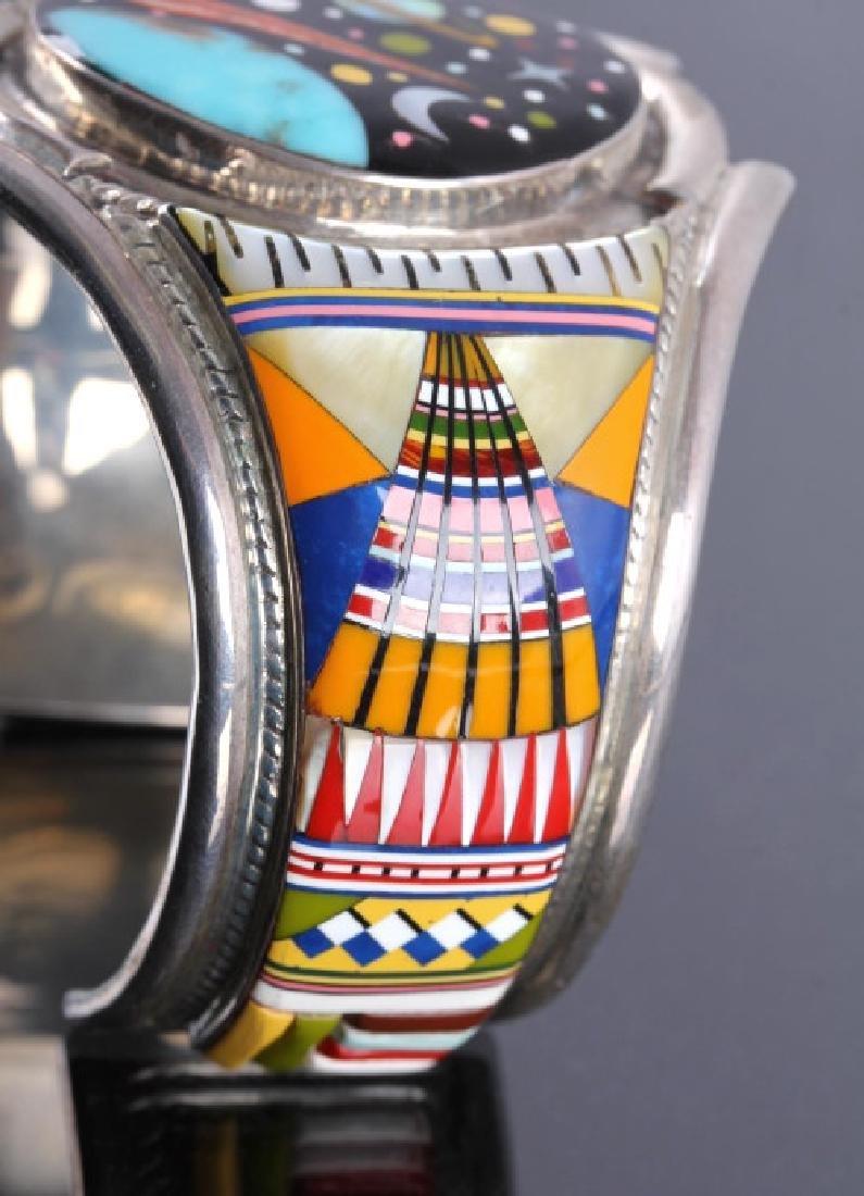 Navajo Sterling Inlaid Mosaic Night Sky Cuff - 6