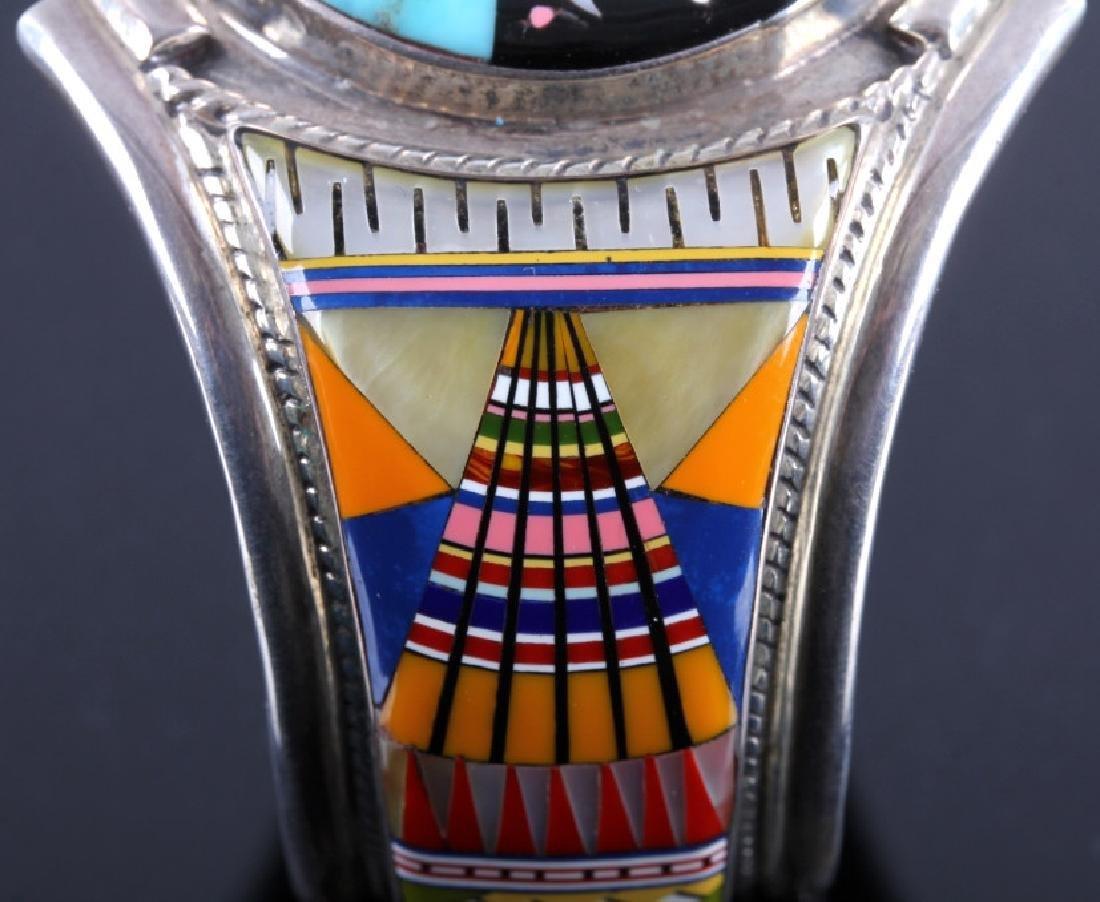 Navajo Sterling Inlaid Mosaic Night Sky Cuff - 7