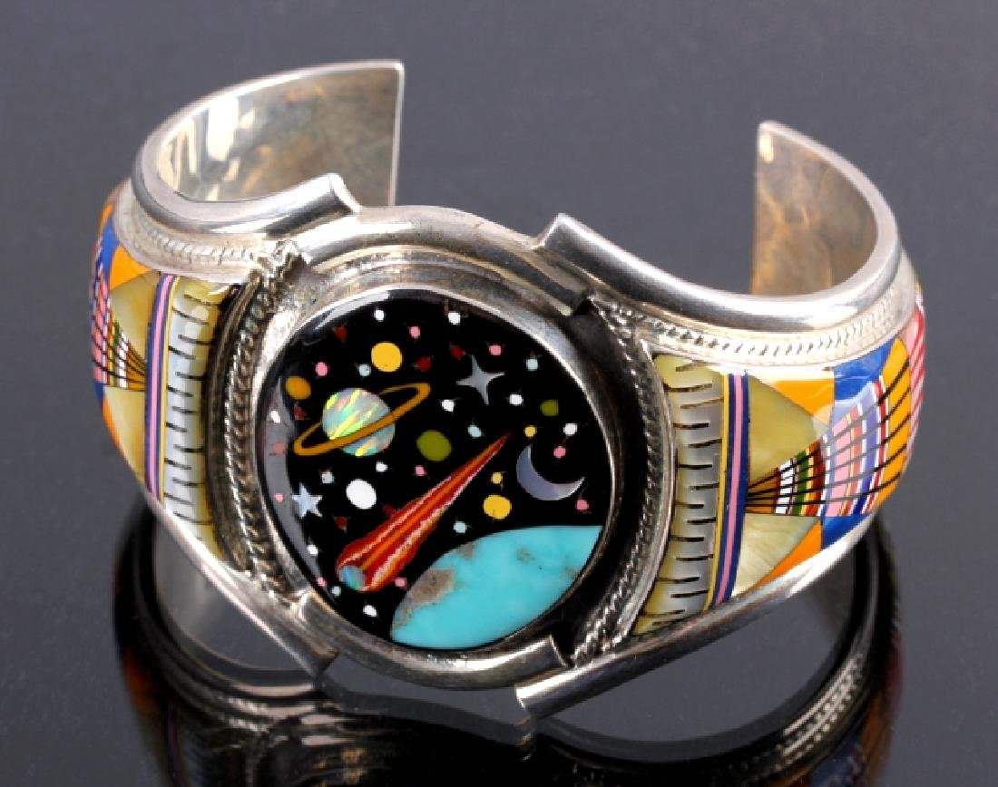Navajo Sterling Inlaid Mosaic Night Sky Cuff - 8