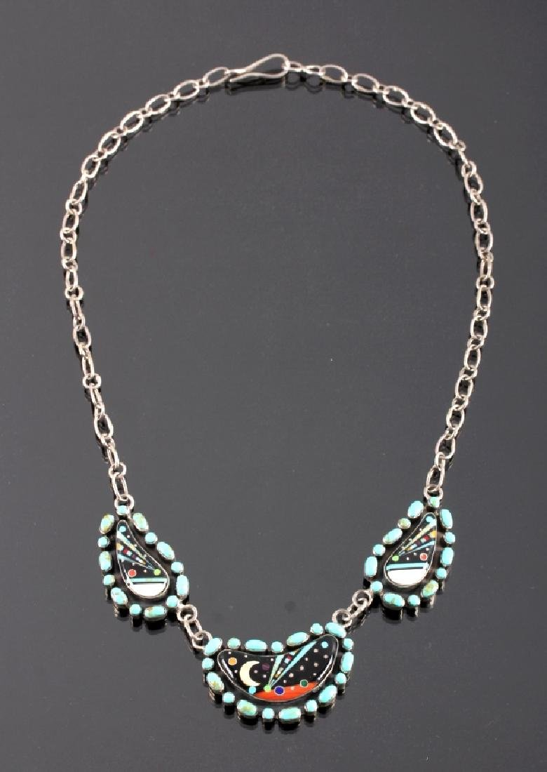 Navajo Sterling Inlaid Mosaic Night Sky Necklace