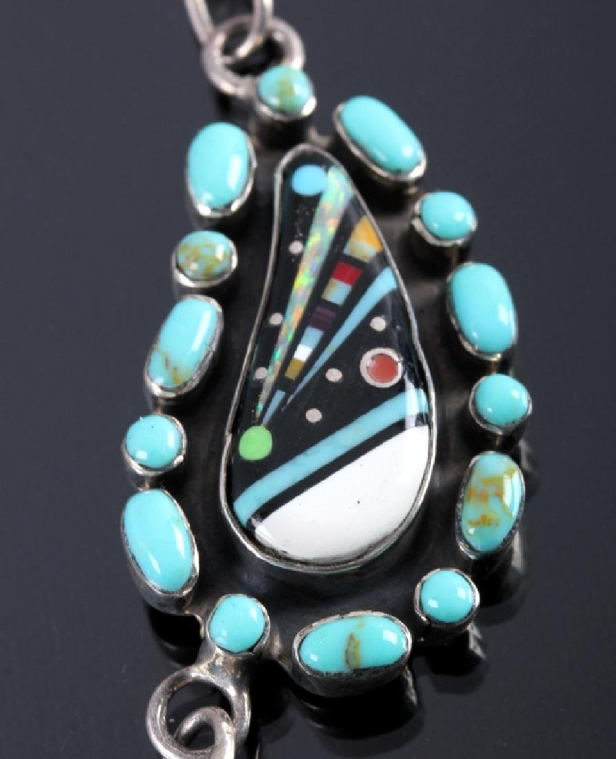 Navajo Sterling Inlaid Mosaic Night Sky Necklace - 5