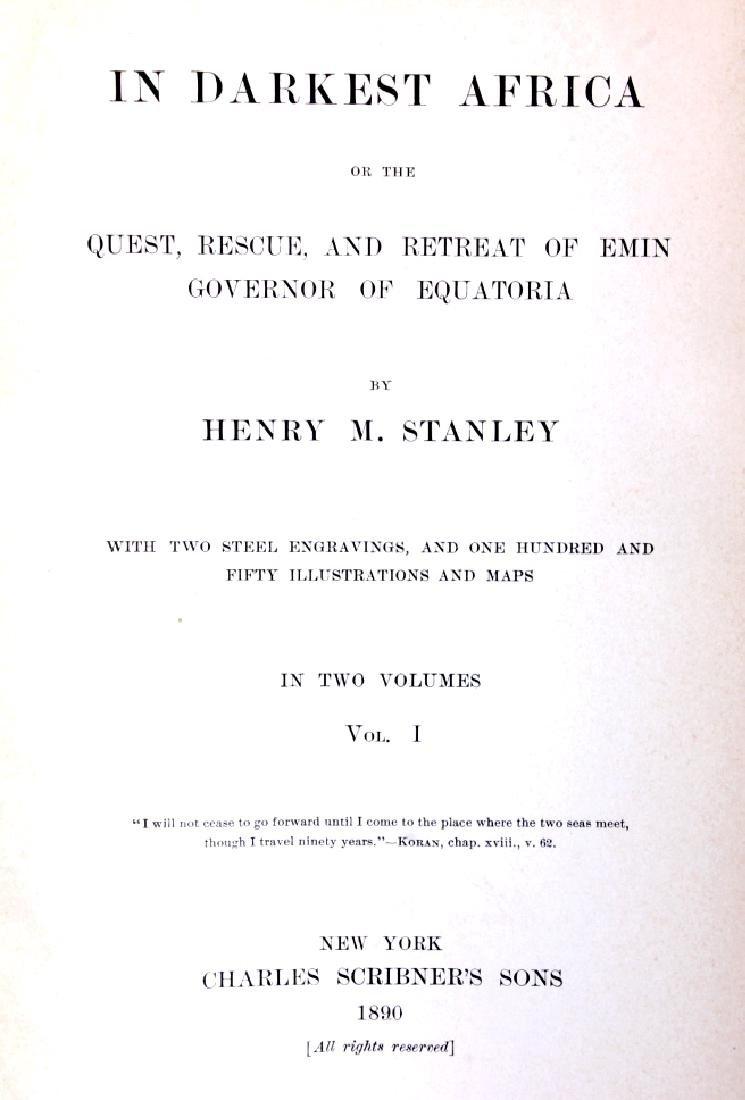 In Darkest Africa by H.M. Stanley 1st Ed. w/ Maps - 2