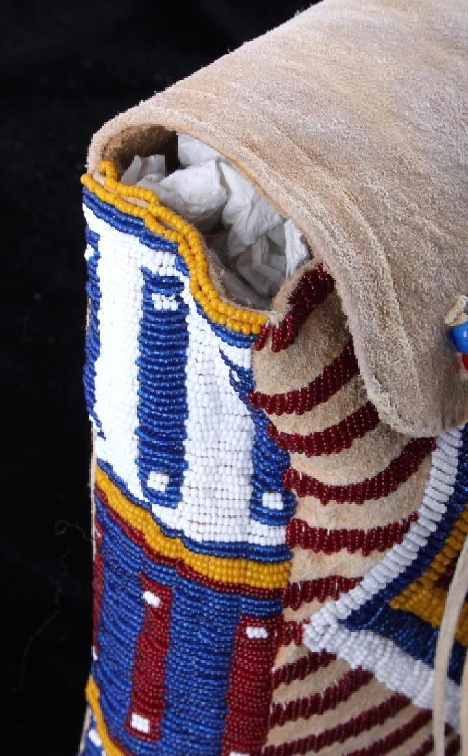 Blackfeet Indian Beaded Possibles Teepee Bag - 10