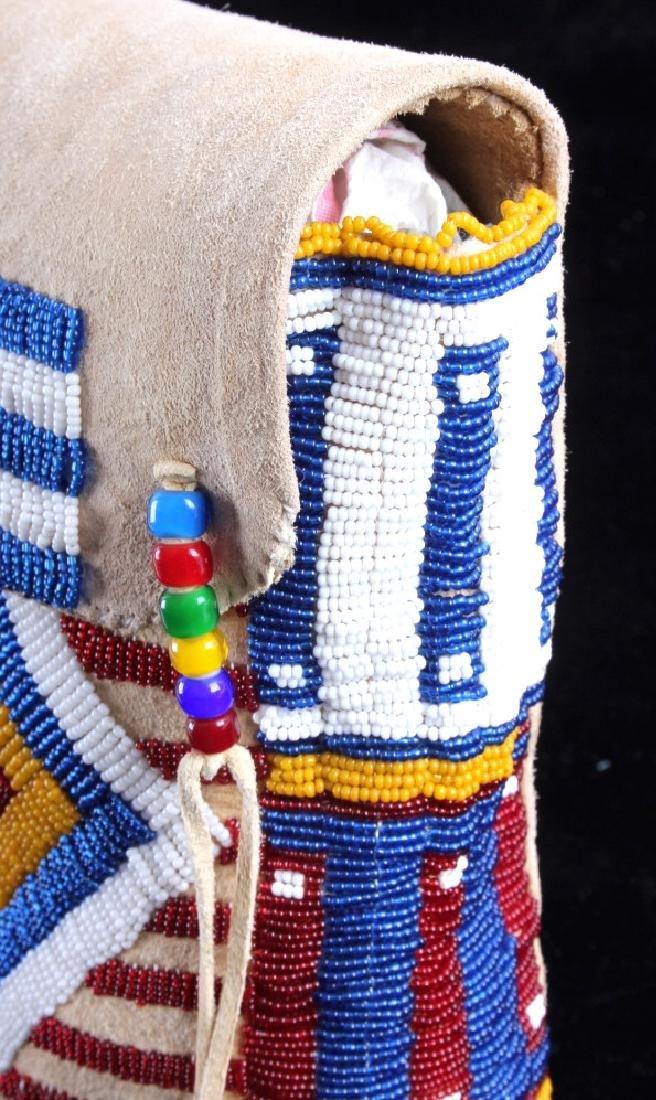Blackfeet Indian Beaded Possibles Teepee Bag - 12