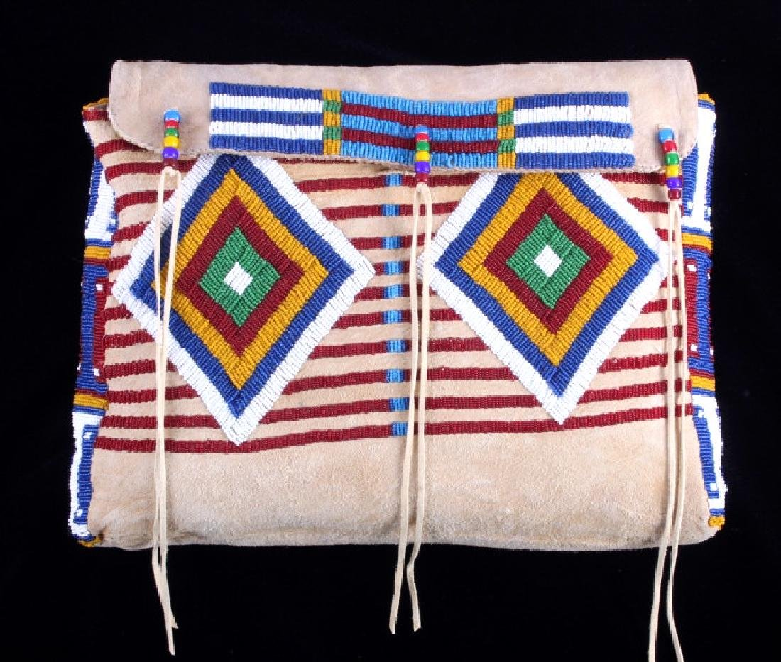 Blackfeet Indian Beaded Possibles Teepee Bag