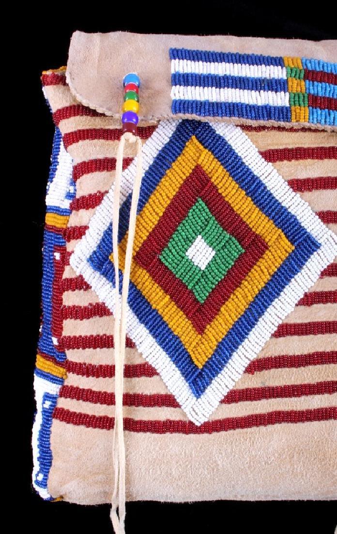 Blackfeet Indian Beaded Possibles Teepee Bag - 2