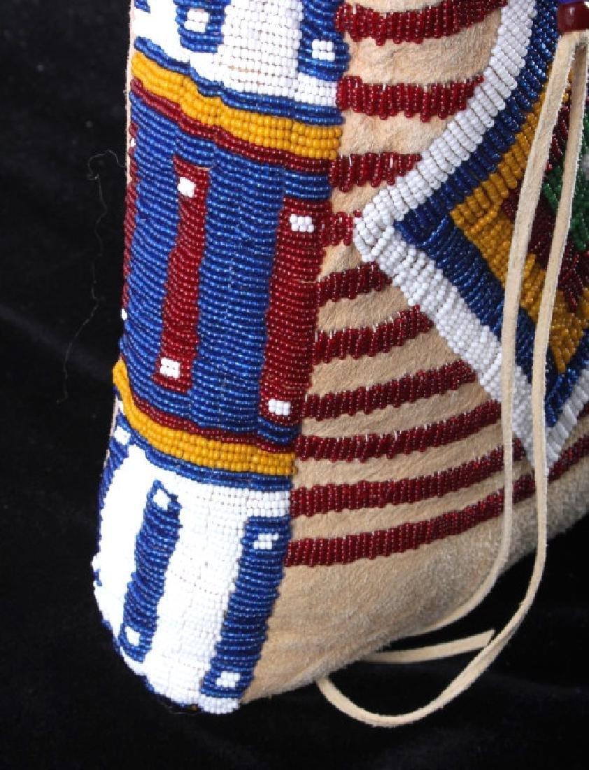 Blackfeet Indian Beaded Possibles Teepee Bag - 9