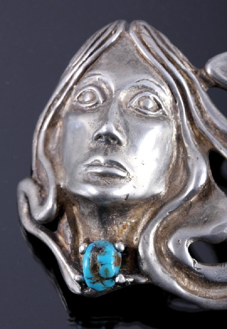 Navajo Sterling Silver Turquoise Belt Buckle - 3
