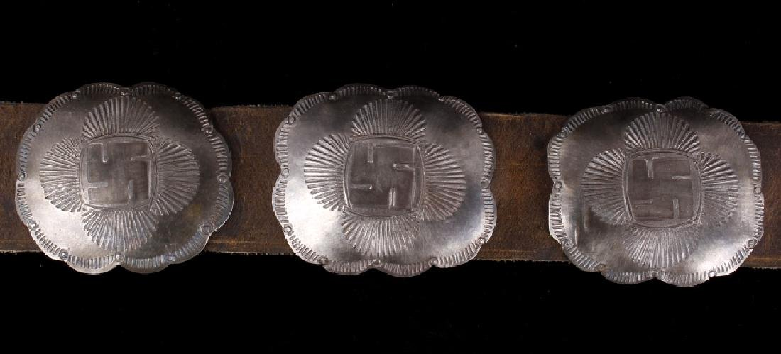 Navajo Whirling Log Silver Concho Belt c.1890-1910 - 10