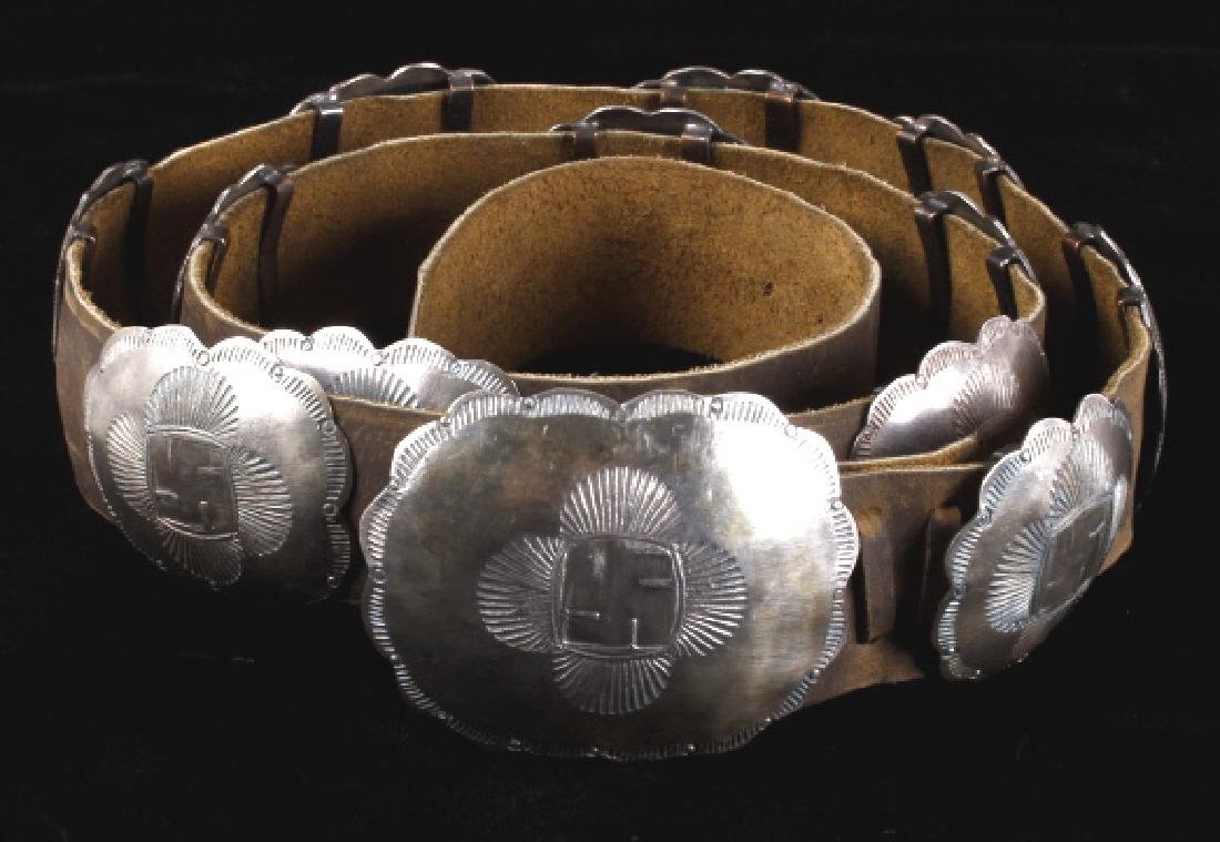 Navajo Whirling Log Silver Concho Belt c.1890-1910 - 2